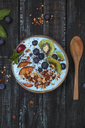 Superfood smoothie bowl with chia seeds, blueberries, nectarine, kiwi and chocolate granola - RTBF01108