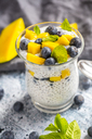 Glass of chia pudding with mango and blueberry - SARF03633
