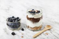 Jar of chia pudding parfait with chocolate and yoghurt with blueberries and granola - RTBF01117