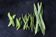 Various sorts of beans and peas on dark metal - CSF29010