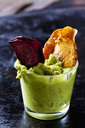 Glass of Guacamole and vegetable Chips - CSF29031
