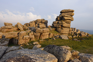 United Kingdom, England, Devon, Granite rock formations of Great Staple Tor in Dartmoor National Park in the evening light - RUEF01841