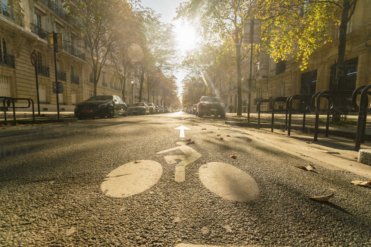 France, Paris, street with cyclist sign on asphalt in autumn - TAMF00999 - A. Tamboly/Westend61