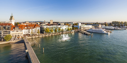 Germany, Baden-Wuerttemberg, Friedrichshafen, Lake Constance, city view, harbour, Zeppelin Museum at lakeside promenade - WDF04517