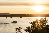 Germany, Meersburg, Ferry traffic between Constance and Meersburg at sunset - WDF04547