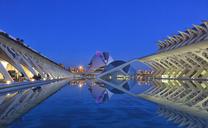 Spain, Valencia, Ciutat de les Arts i les Ciencies at blue hour - OLE00063