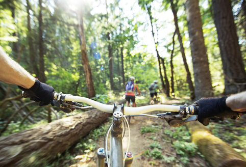 Cropped image person riding bicycle with friends in forest - CAVF31281