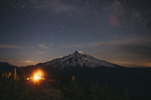 Scenic view of mountain against star field at night - CAVF31293