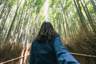 Rear view of woman in Arashiyama bamboo grove - CAVF31418