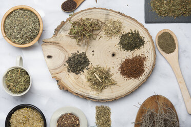 Various herbal infusions, chamimile, mint, rooibos, thyme, green tea, tisane - SKCF00374