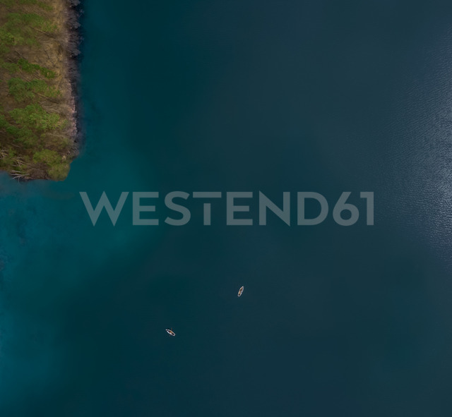 Germany, Bavaria, aerial view of Chiemsee and two rowing boats - MMAF00337