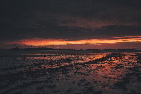 France, Brittany, Landeda, Dunes de Sainte-Marguerite, seascape with beach at dusk - GUSF00575