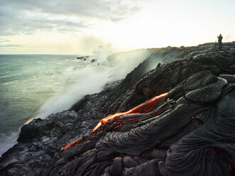 Hawaii, Big Island, Hawai'i Volcanoes National Park, lava flowing into pacific ocean, photographer - CVF00320