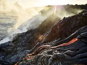 Hawaii, Big Island, Hawai'i Volcanoes National Park, lava flowing into pacfic ocean - CVF00323