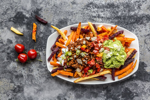 Vegetable fries with vegetarian bolognese, guacamole, yogurt dip, tomatoes, spring onions and parmesan on plate - SARF03640