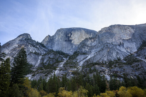 Low angle view rock formation against sky at Yosemite National Park - CAVF32276