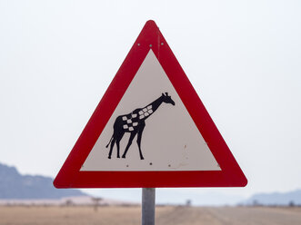 Africa, Namibia, traffic sign, caution label, giraffe - RJF00764