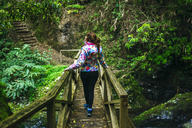 Azores, Sao Miguel, Woman walking on a wooden bridge through the forest - KIJF01921