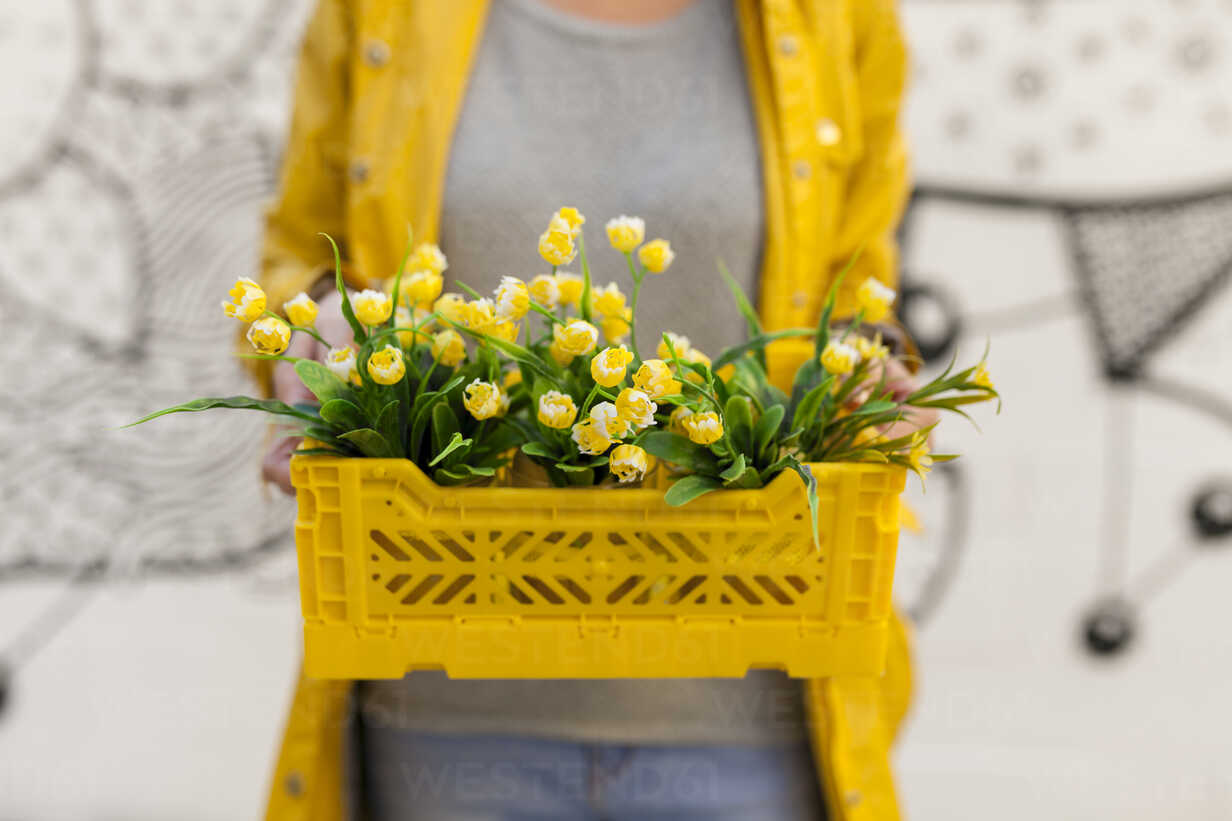 Close-up of woman holding yellow spring flower box - VABF01536 - Valentina Barreto/Westend61