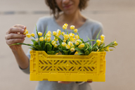 Close-up of woman holding yellow spring flower box - VABF01539