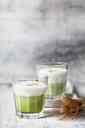 Matcha Latte in tea glasses, chasen - SBDF03505