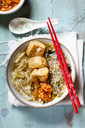 Asian noodle soup with cabbage, tofu, shirataki noodles and homemade kimchi - SBDF03518