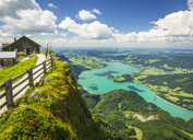 Austria, Salzkammergut, View from Mountain Schafberg to Lake Mondsee - AI00460