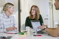 Three professionals talking at desk - FOLF07264