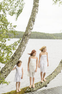 Three girls standing on tree by lake - FOLF08459