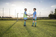 Young football players shaking hands on football ground - WESTF24049