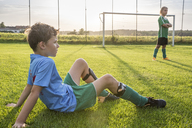 Two young football players on football ground - WESTF24058