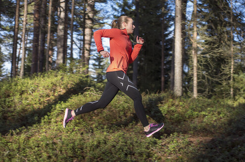 Young woman jogging in forest - FOLF08865