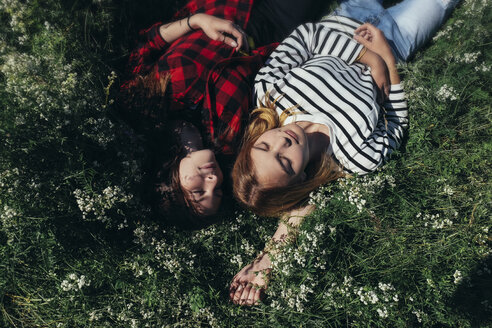 High angle view of female friends napping on grassy field - CAVF34322