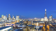 UK, London, cityscape and Thames river panoramic view at dusk - WPEF00156