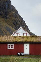 Norway, Lofoten Islands, Eggum, hut at the mountainside - WVF00937