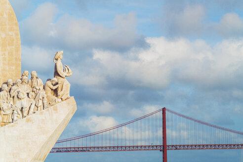 Portugal, Lisbon, view of Padrao dos Descobrimentos and Ponte 25 de Abril - TAM01017