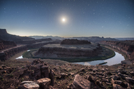 Majestic view of Dead Horse Point State Park against star field during dusk - CAVF35010