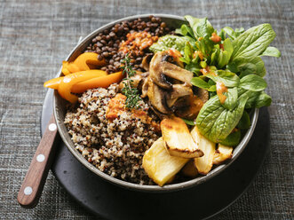Lentil Quinoa Bowl, lentils, quinoa, bell pepper, roasted parsnips, field salad, mushrooms, spicy vegan sauce - HAWF01003