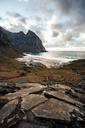 Norway, Lofoten Islands, View to Kvalvika Beach - WVF01019