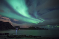 Norway, Lofoten Islands, Haukland Beach, northern lights - WVF01047