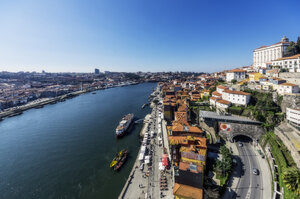 Portugal, Porto, city view with Douro river - THAF02153