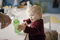 Baby boy with drinking bottle - KNSF03780