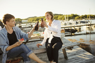 Smiling male and female friends toasting beer bottles at harbor - MASF01166