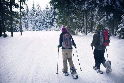 Couple snowshoeing in forest - CAVF35290