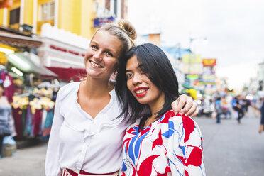 Thailand, Bangkok, Khao San Road, portrait of two happy friends - WPEF00208