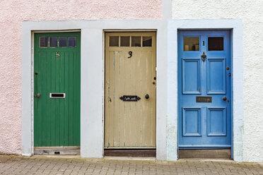 Scotland, Fife, St. Monans, hree different doors - WDF04582