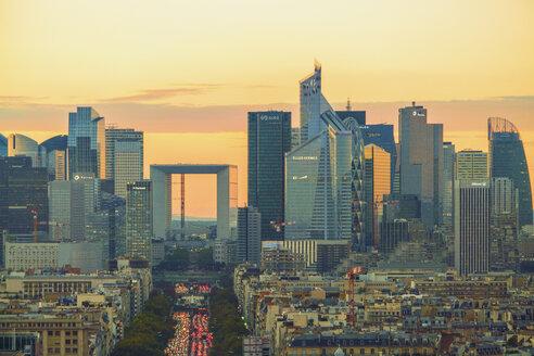 France, Paris, La Defense with La Grande Arche at sunset - TAM01034