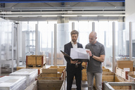 Businessman and employee looking at plan in factory storeroom - DIGF03882