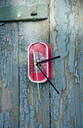 Upcycling, old fish can, clock hanging on blue old wooden wall - GIS00315