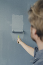 Man painting wall with paint roller - JOSF02162